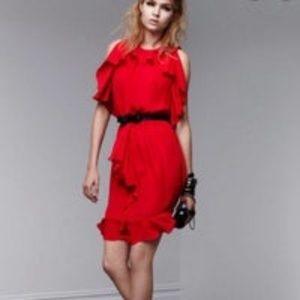 Prabal Gurung Red Ruffle Dress Sz 12